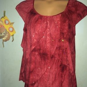 Sparkly Red Blouse